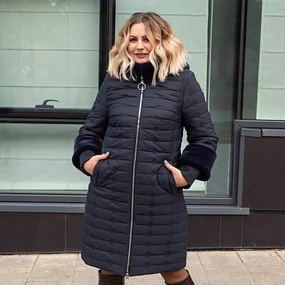 Зимние женские куртки больших размеров  50-60 синий