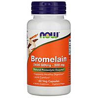 Бромелайн, Bromelain, Now Foods, 500 Мг, 60 Капсул