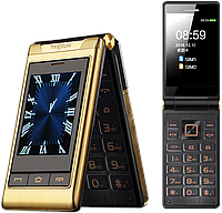 "Телефон-раскладушка Tkexun G10 Black/Gold, 9000 mAh, 2 SIM, 3 Mpx, Громкий, сенсорный дисплей 3"" (Yeemi G10-C)"