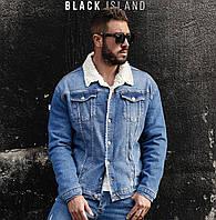 Мужская синяя джинсовка Турция теплая куртка оверсайз на зиму Куртка мужская джинсовая на меху зимняя синяя