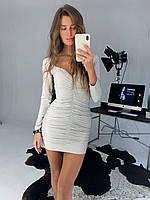 Женское модное платье люрекс трикотажный с длинным рукавом нарядное