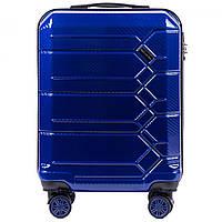 Чемодан поликарбонат Wings PC185 маленький - ручная кладь (S, 35 л) Темно-синий (Dark blue)