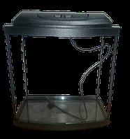 Аквариум овальный 24 л с крышкой,светильником и поддоном 3 в 1, 40*25*25 см, 4 мм