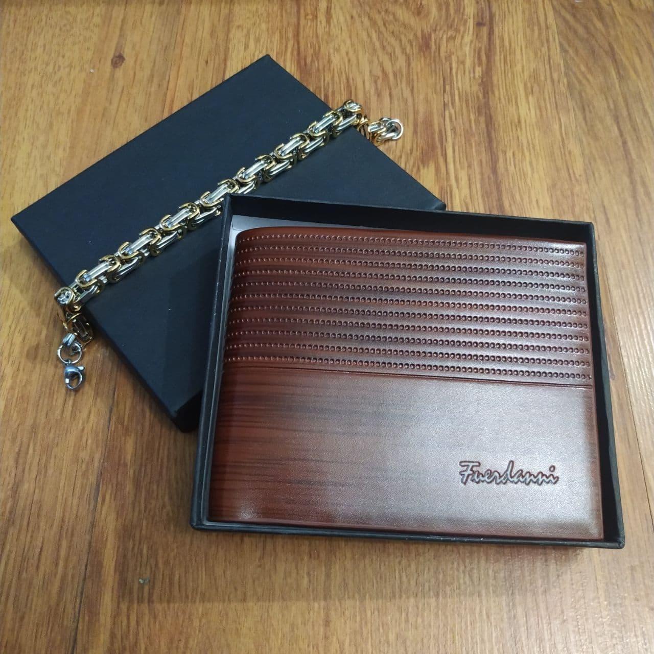 Подарунковий набір №8. Чоловіче портмоне (гаманець) Fuerdanni + чоловічий браслет Stainless Steel