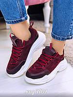 Бордовые замшевые кроссовки 36 размер, фото 1