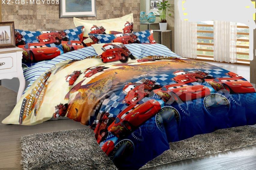 Комплект детского постельного полуторного белья Тачки Маквин, ранфорс, 100% хлопок