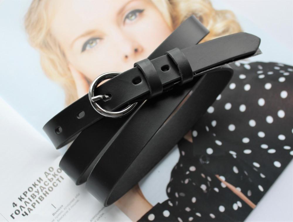 Женский узкий кожаный ремень с круглой пряжкой black