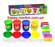 Краски для пальчиков 4цв. в баночках PK-03-01 + тесто для лепки 7цв.