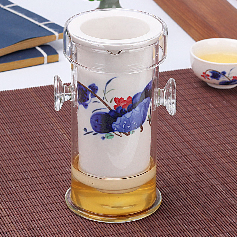Фильтр колба для заваривания чая стекло с керамикой