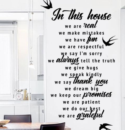 Виниловые наклейки In this house 2 с птицами (текстовая наклейка мотиватор В нашем доме) матовая 970х1630 мм