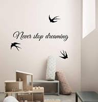 Виниловые наклейки Never stop dreaming (мотиватор никогда не останавливайся мечта ласточки матовая 1000х175 мм