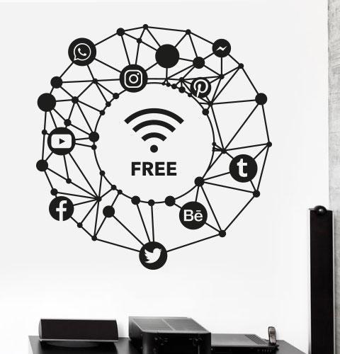Виниловые наклейки Wi-fi free (текстовая наклейка wifi значки вайфай интернет схема соцсети матовая 600х625 мм