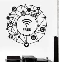 Виниловые наклейки Wi-fi free (текстовая наклейка wifi значки вайфай интернет схема соцсети матовая 600х625 мм, фото 1