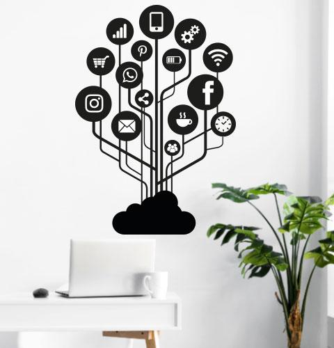 Вінілові наклейки Соціальні мережі (фейсбук інстаграмм символи значки мотиватор на стіну) матова 970х1385 мм