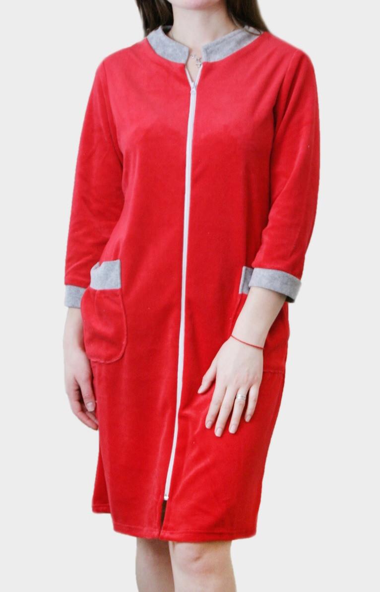 Халат женский велюровый красного цвета