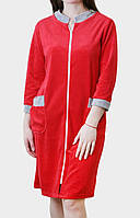 Халат женский велюровый красного цвета, фото 1