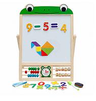 Деревянная игрушка досточка, двусторонний мольберт со счетами и цифрами Limo Toy MD 1028 жабка
