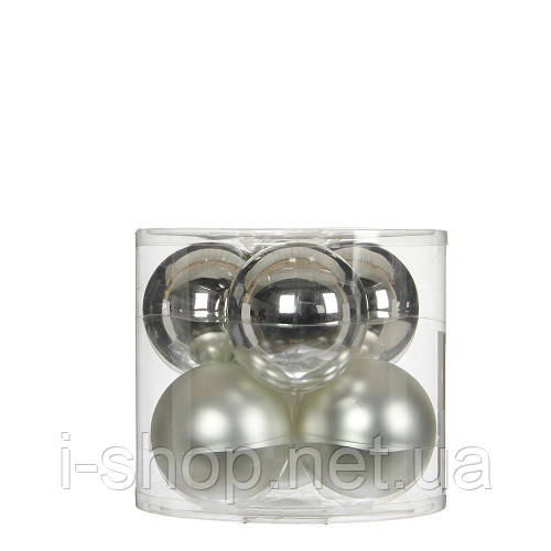 """Елочные шарики 6 шт., """"House of Seasons"""" комплект, цвет серый"""