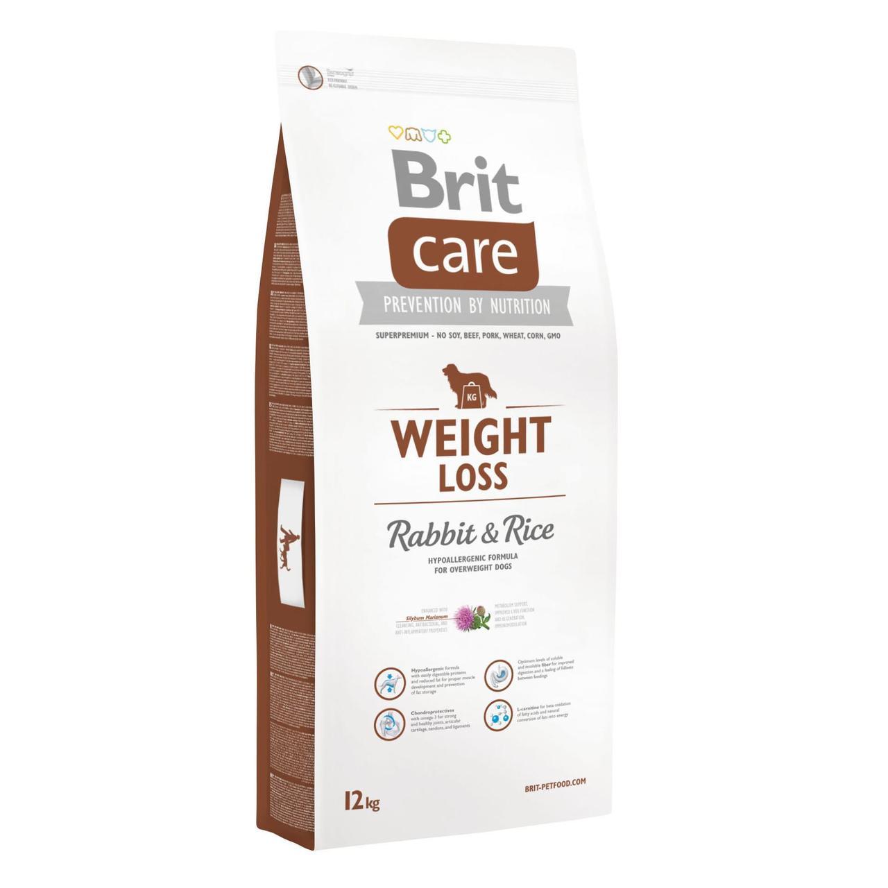 Сухой корм для собак с лишним весом Brit Care Weight Loss Rabbit & Rice 12 кг (кролик и рис)