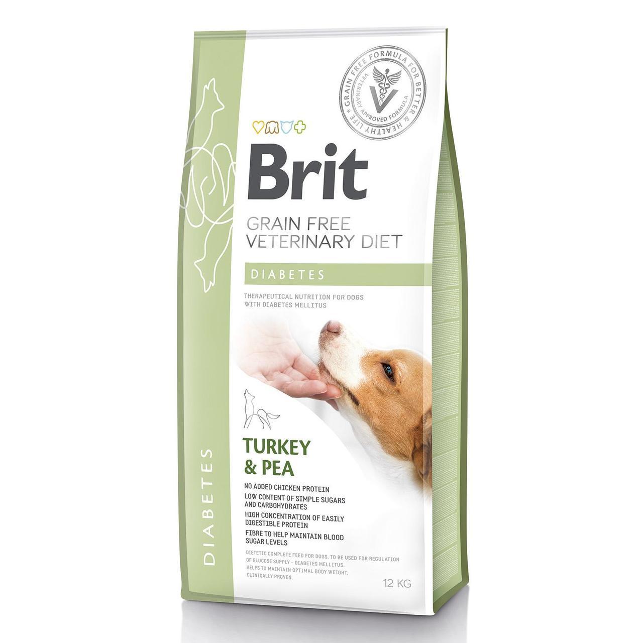 Brit GF VetDiets Dog Diabetes 12 kg при сахарном диабете с идейкой и горохом