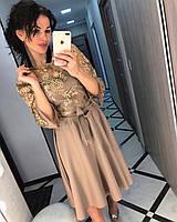 Платье кружевное креп-костюмка с сеткой, разные цвета
