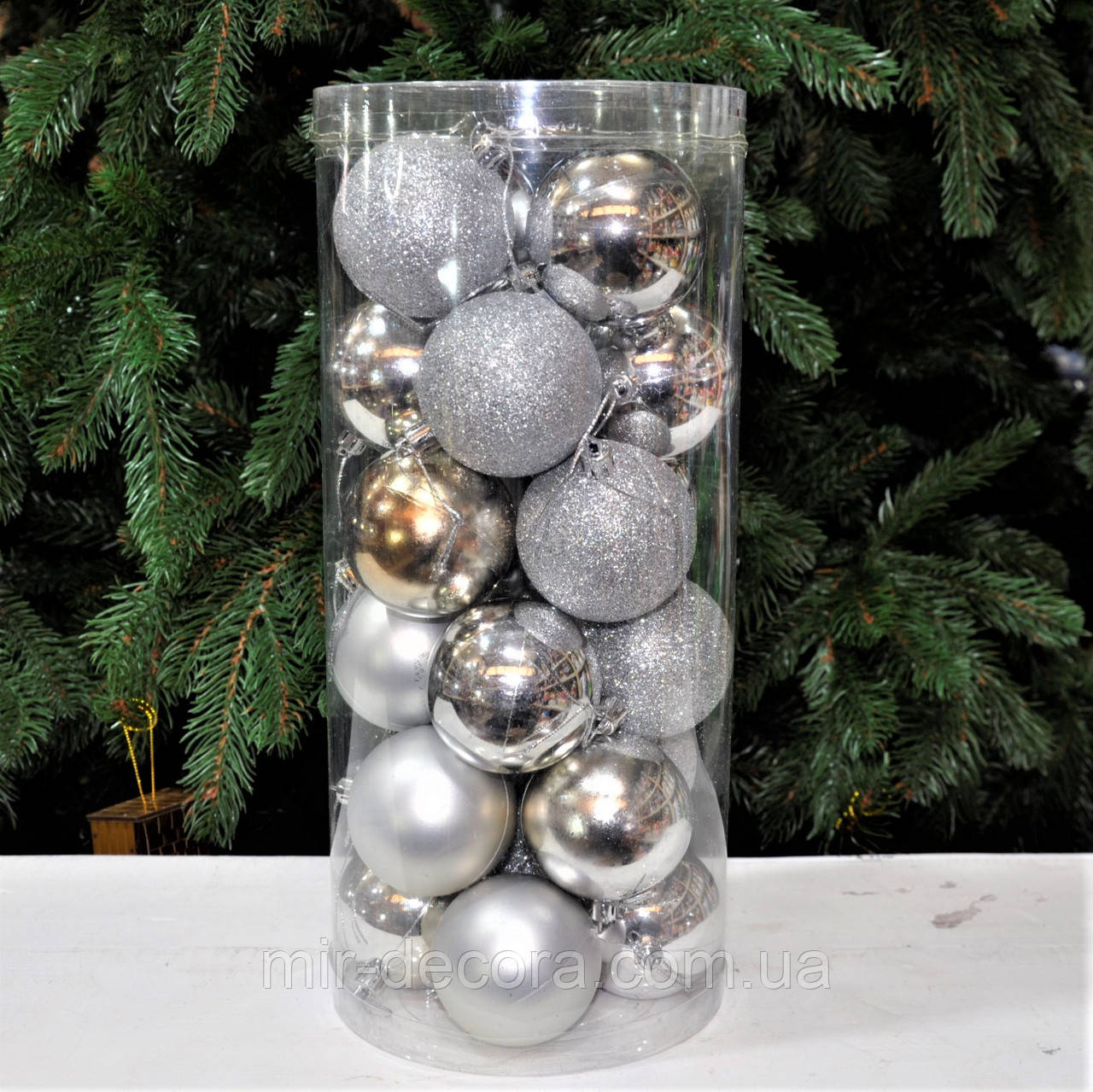 Набор красивых шаров из пластика Серебро, диаметр 50, 24 шт.