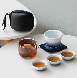Чайний набір портативний складаний 3 чашки 150 мл