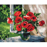 Картина по номерам Букети цветов Маки на подоконнике 40х50 см