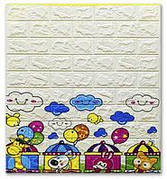 Декоративна самоклеюча стінова 3D панель (3D шпалери) для дітей StickerWall ECO з ПП, ПВХ миється,