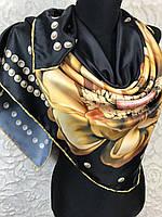 Женский красивый черный платок с большим цветком - купить на Kosinka.net