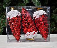 Набор шишек на новогоднюю на елку, размер 15 см, 3 шт. Цвет красный