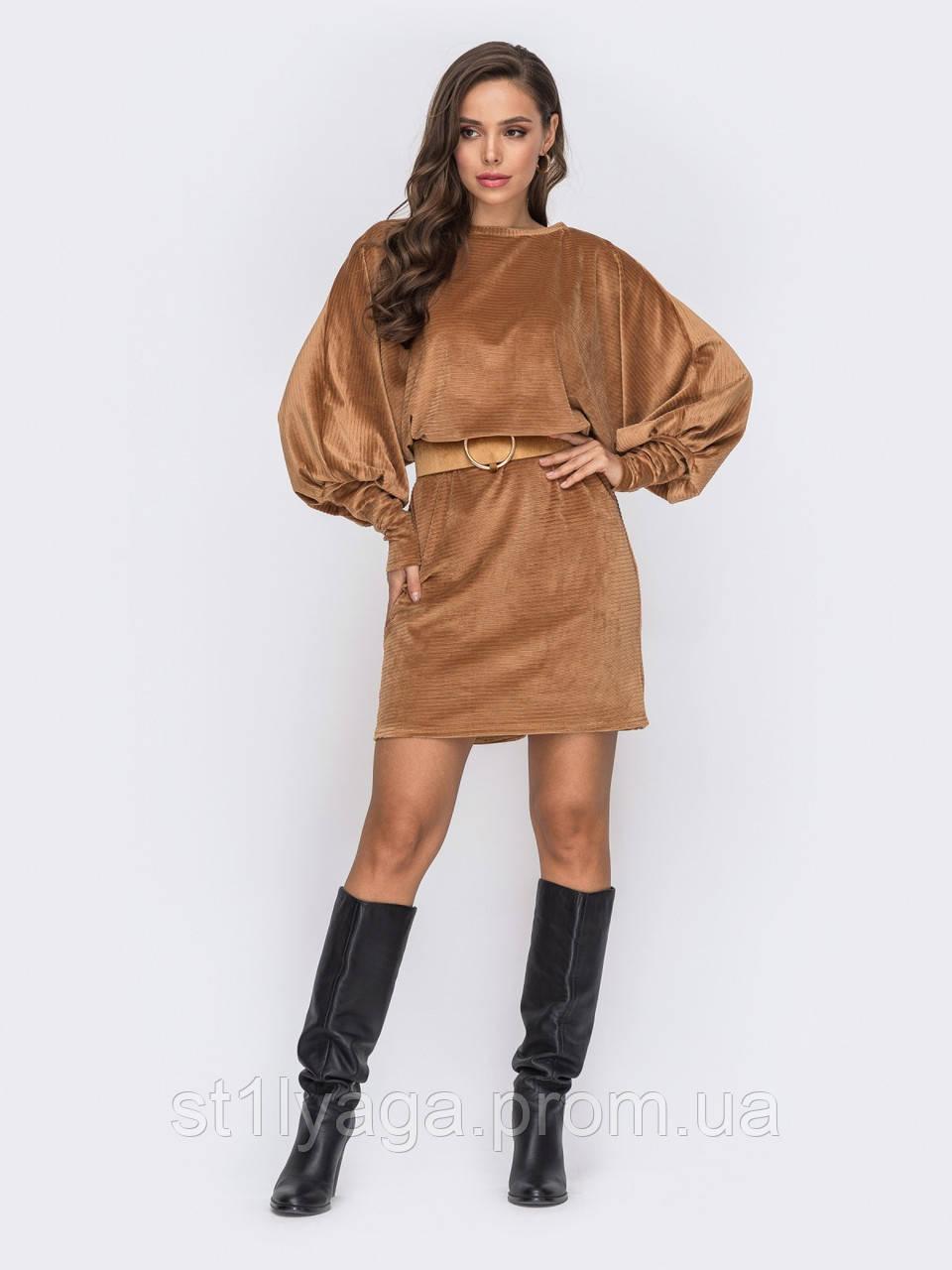 Однотонное вельветовое платье в стиле oversize