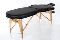 Кушетка массажная складная деревянная двухсегментный массажный стол круглые углы RESTPRO VIP OVAL 2 Черный