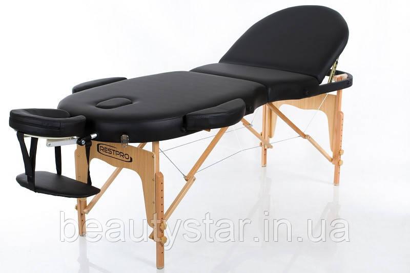 Кушетка масажна розбірна Стіл складаний масажний 3-х секційний дерев'яний RESTPRO VIP OVAL 3 чорний колір
