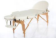 Трехсегментный массажный стол складной регулировкой высоты на деревянном основании RESTPRO VIP OVAL 3 Бежевый