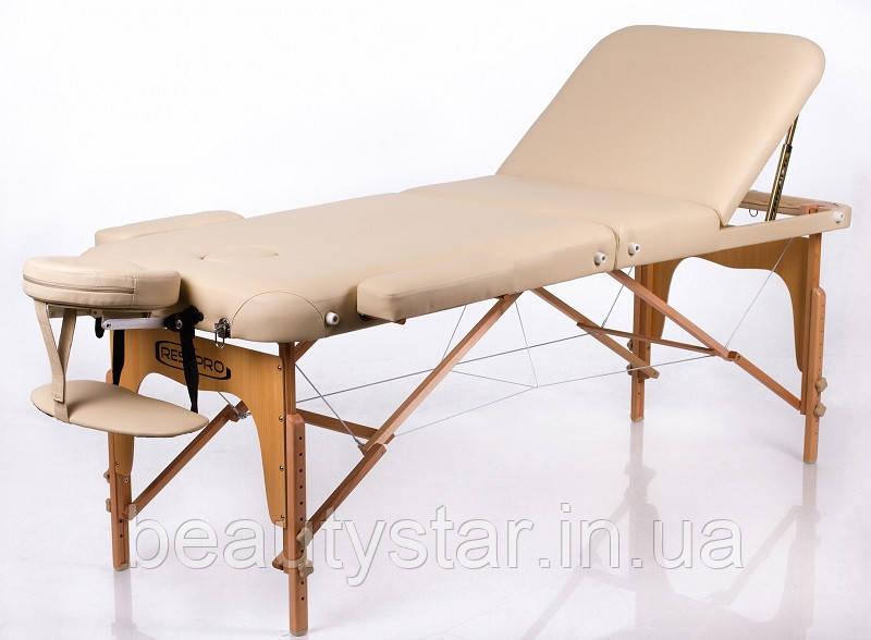 Складаний масажний портативний стіл 3 секції дерев'яний кушетка масажна переносна RESTPRO Memory 3 Бежевий