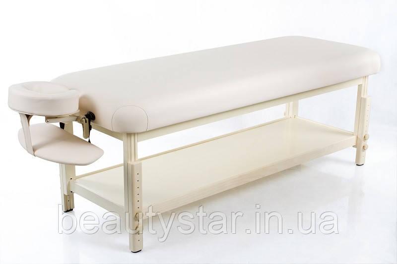Стационарный массажный стол регулировкой высоты на усиленном деревянном основании RESTPRO Classic-Flat Бежевый