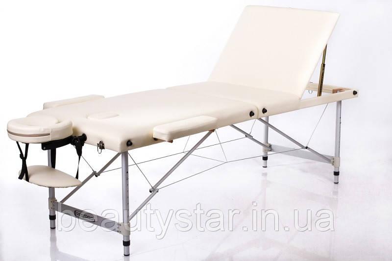 Масажний стіл переносний кушетка складаний алюмінієвий трисекційний RESTPRO ALU 3 Бежевий