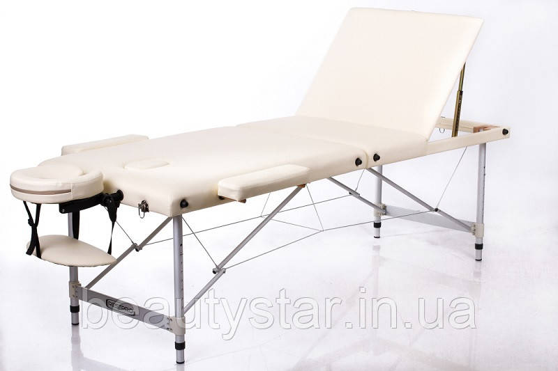 Переносной массажный стол кушетка складной алюминиевый трехсекционный RESTPRO ALU 3 Бежевый