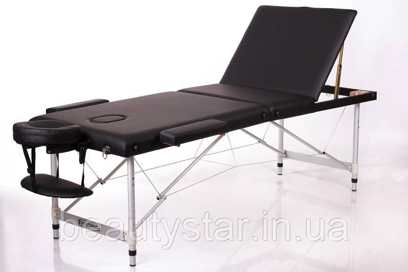 Складаний масажний стіл алюмінієвий 3 секції кушетка масажна RESTPRO ALU 3 чорний