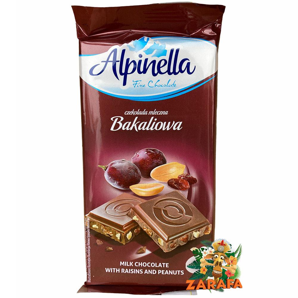 Молочный шоколад Alpinella арахис с изюмом