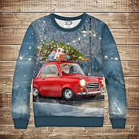 Світшот різдвяний з 3D принтом Санта Клаус на машині з ялинкою. Дорослі і дитячі розміри, фото 1