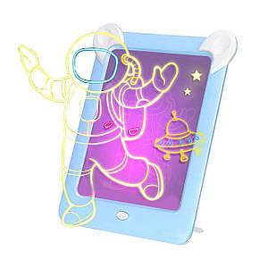 Детская магическая 3D доска для рисования Magic Board Drawing Pad Blue с подсветкой трафаретами на присосках
