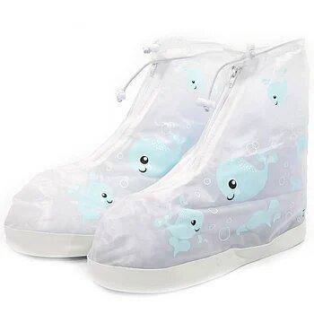 Детские резиновые бахилы Lesko на обувь от дождя Кит Blue р.32-33 водонепроницаемые (3714-12199)