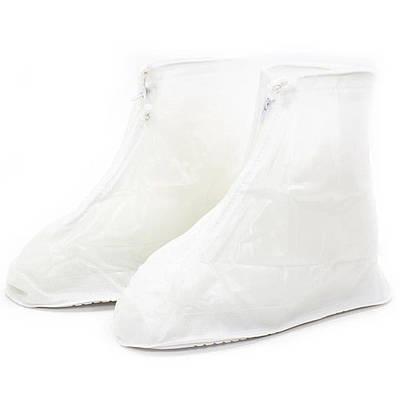 Резиновые чехлы-бахилы Lesko SB-101 Белые размер XL на обувь от дождя (3722-12163)