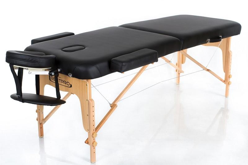 Стол массажный складной черный цвет двухсекционный подъёмом высоты кушетка массажная переносная RESTPRO VIP 2
