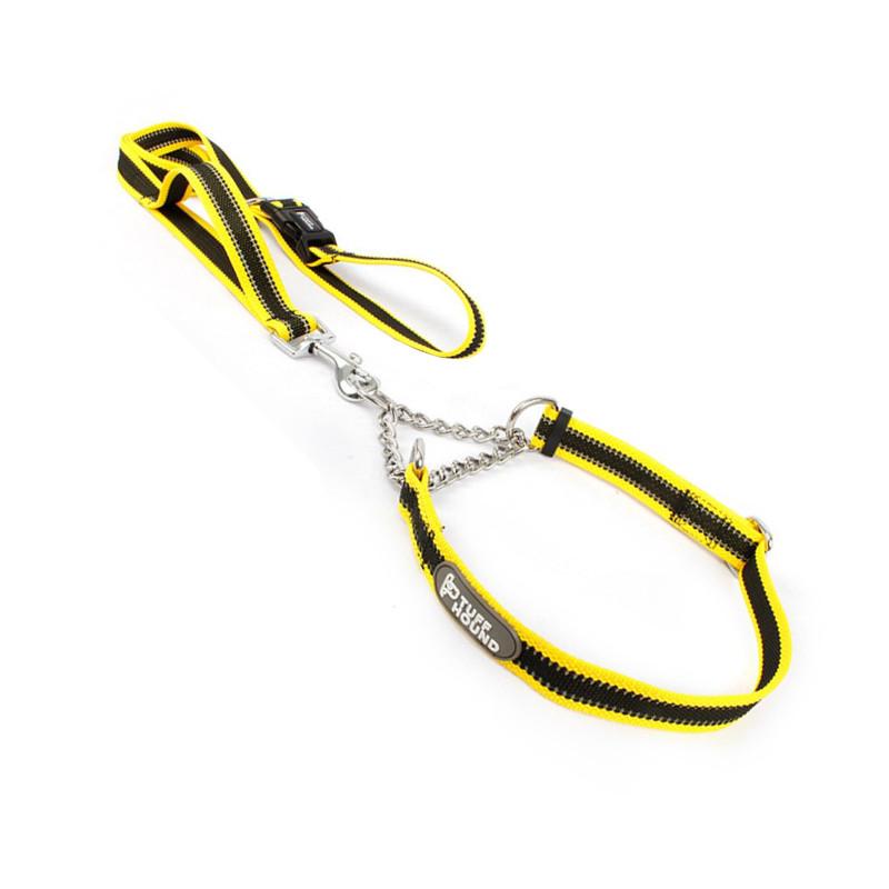 Ошейник удавка для собак TUFF HOUND TC00105 Yellow Black M 40-60 см с поводком (5699-16528)