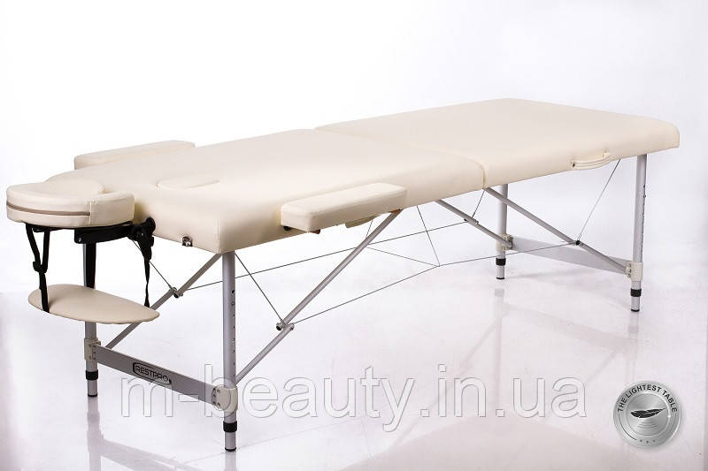 Складной двухсекционный массажный стол алюминиевый раскладной регулировка высоты RESTPRO® ALU 2 (L) Бежевий