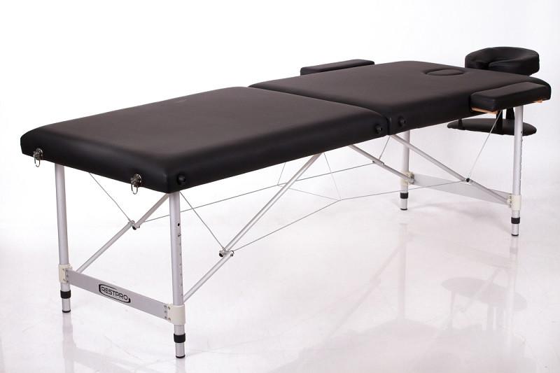 Складаний алюмінієвий Масажний стіл переносний двохсегментній RESTPRO ALU 2 Чорний