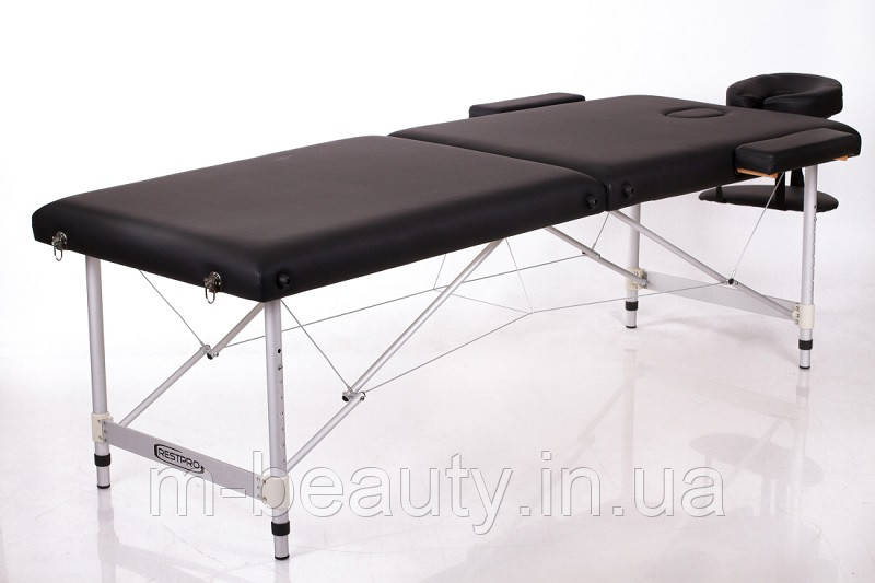 Складной алюминиевый Массажный стол переносной двухсегментный RESTPRO ALU 2 Чорний